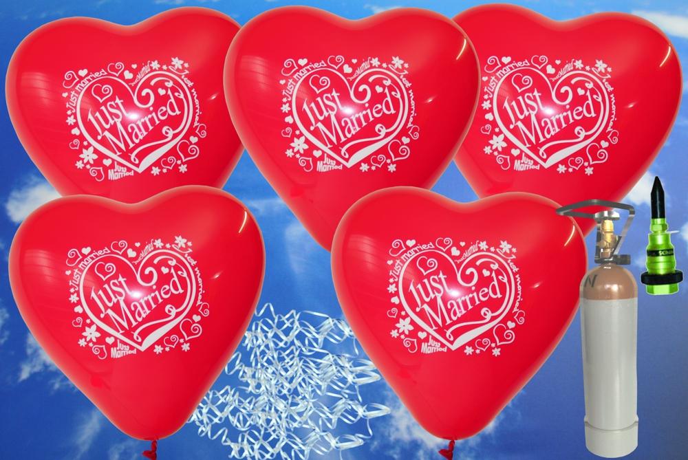 midi set hochzeit 50 rote just married herzluftballons mit helium ballonsupermarkt. Black Bedroom Furniture Sets. Home Design Ideas