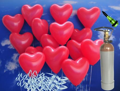 Helium-Mehrwegbehälter-Set, 55 rote Herzluftballons mit Ballonbändern