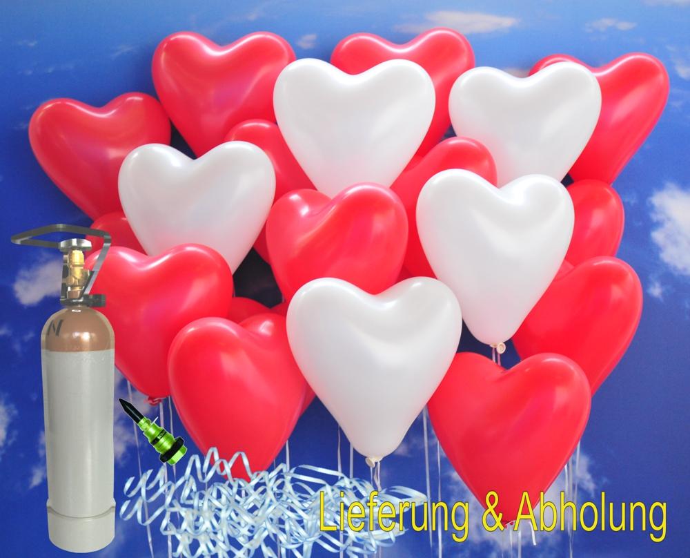 midi set 2 1a 50 rote und wei e herzluftballons mit helium inkl abholung midi set 2 50er. Black Bedroom Furniture Sets. Home Design Ideas