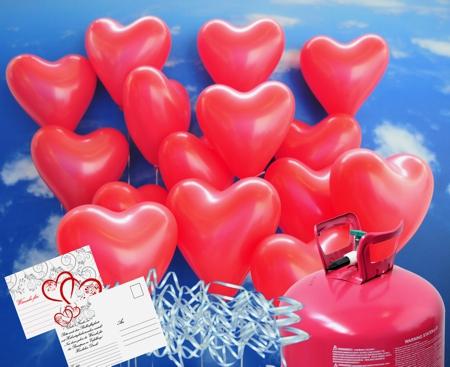 Helium-Einwegbehälter-Set mit 50 roten Herzluftballons, Ballonbändern und Ballonflugkarten