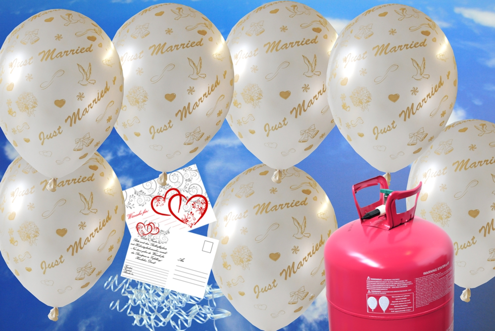 luftballons zur hochzeit steigen lassen helium einwegbeh lter mit 30 luftballons in wei just. Black Bedroom Furniture Sets. Home Design Ideas