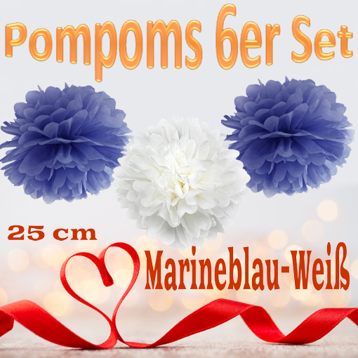Pompoms-in-Marineblau-Weiss-25-cm-6er-Set