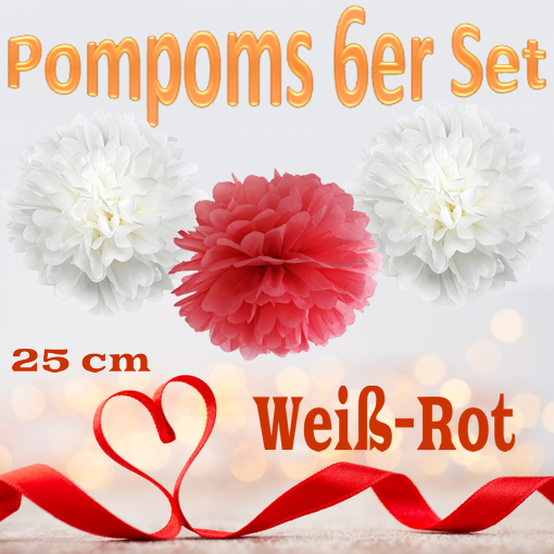 Pompoms-in-Weiss-Rot-25-cm-6er-Set