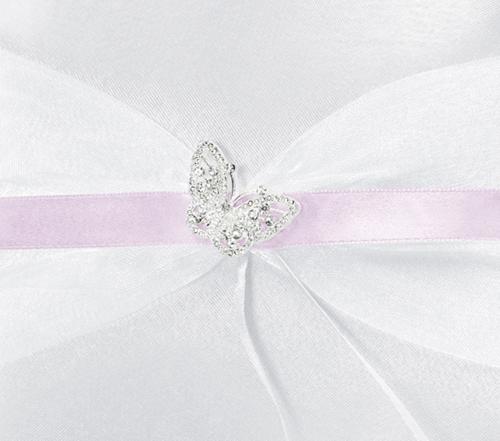 .de - Ringkissen zur Hochzeit, weiß mit glänzendem Schmetterling ...