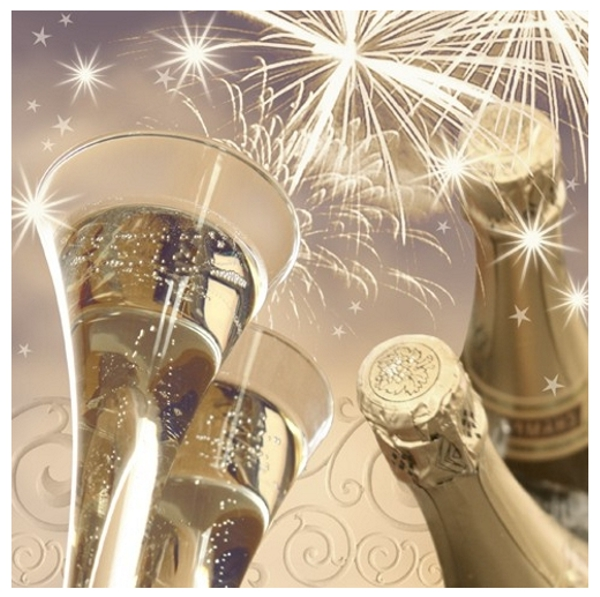 Servietten-Dekoration-Silvester-Cheers-New-Year-Sektglaeser-und-Sekt