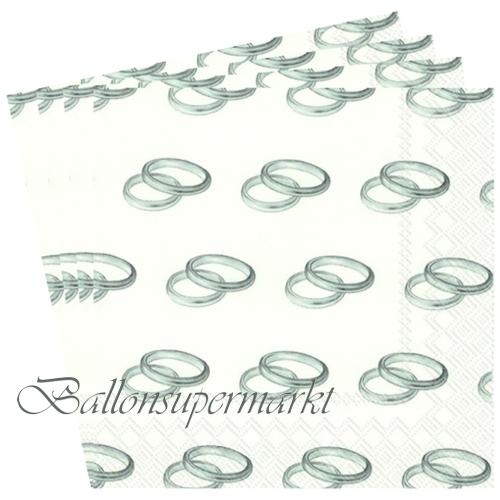 ballonsupermarkt servietten zur hochzeit trauringe silber. Black Bedroom Furniture Sets. Home Design Ideas