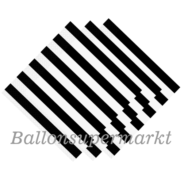 ballonsupermarkt party servietten black stripes schwarz wei gestreift. Black Bedroom Furniture Sets. Home Design Ideas