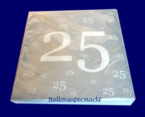 Servietten Zum 25 Jubilaum Geburtstag Silberne Hochzeit