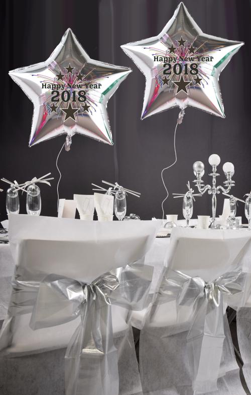 ballonsupermarkt silvester dekoration 20 luftballons silberne sterne 2018. Black Bedroom Furniture Sets. Home Design Ideas