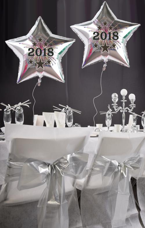ballonsupermarkt silvester sternballon silber aus folie 2018 mit helium. Black Bedroom Furniture Sets. Home Design Ideas