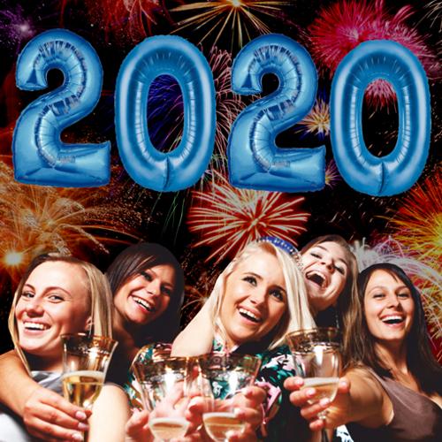 Zahlen Dekoration Silvester 2020 Blau