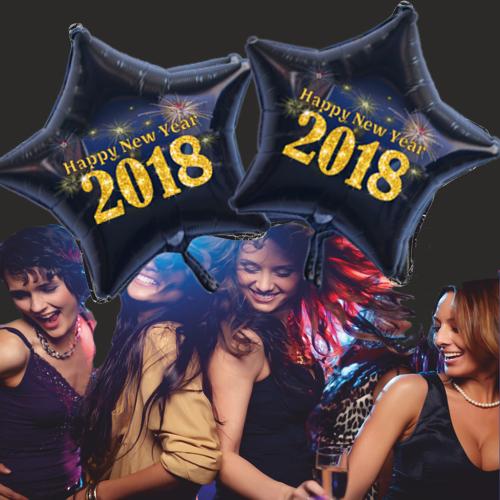 Silvesterdeko Sternballons 2018, Ballons Helium Set 50 Ballons Feuerwerk, Partydeko Silvester
