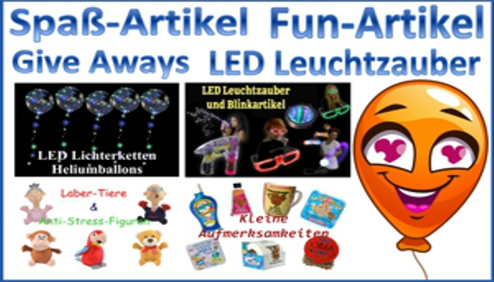 Spass und Fun Artikel, Give Aways, LED Lichterzauber, LED Leuchtketten Luftballons