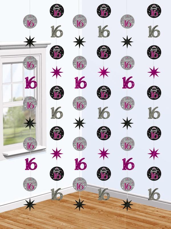 ballonsupermarkt string dekoration sweet 16 geburtstagsdekoration zum 16. Black Bedroom Furniture Sets. Home Design Ideas