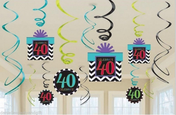 ballonsupermarkt geburtstag dekoration swirls celebrate 40 geburtstag 40. Black Bedroom Furniture Sets. Home Design Ideas