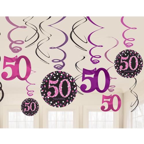 geburtstag dekoration swirls pink celebration 50 geburtstag swirls geburtstagsdekoration. Black Bedroom Furniture Sets. Home Design Ideas