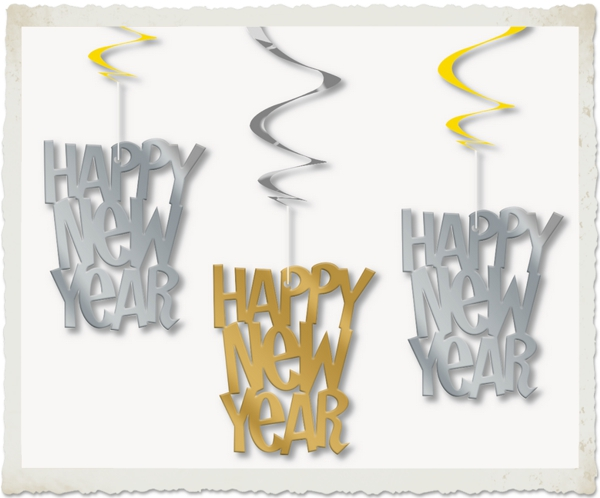 Swirls-Deko-Haenger-Silvester-Dekoration-Happy-New-Year-Silber-Gold