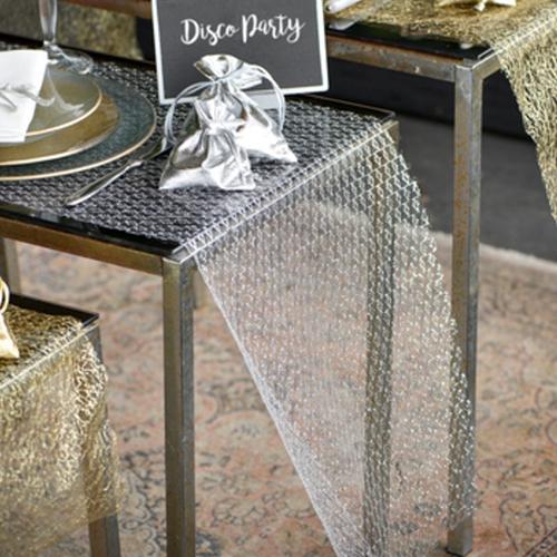 ballonsupermarkt deko tischl ufer tischdecke in netzoptik silber silberne. Black Bedroom Furniture Sets. Home Design Ideas
