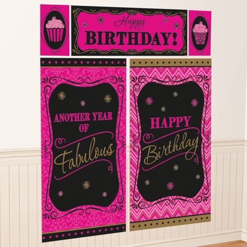 Wanddekoration-Happy-Birthday-Born-to-be-fabulous-Dekoration-zum-Geburtstag-Poster-Set-5-Teile