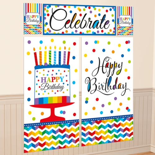 Wanddekoration-Happy-Birthday-Dekoration-zum-Geburtstag-Poster-Set-5-Teile
