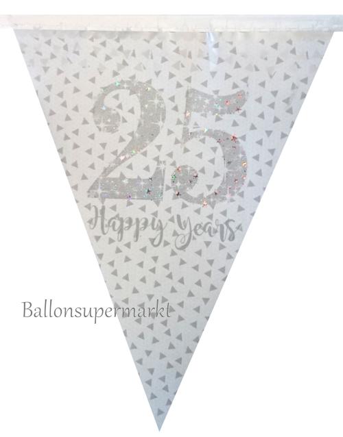 ballonsupermarkt wimpelkette 25 happy years 4 meter dekoration silberne. Black Bedroom Furniture Sets. Home Design Ideas