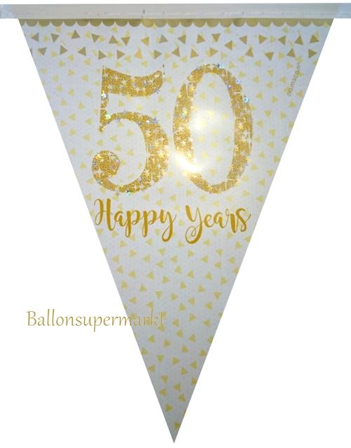 Ballonsupermarkt wimpelkette 50 happy for Hochzeit raumdeko