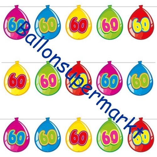 Ballonsupermarkt wimpelkette balloonshape for Dekoration 60 geburtstag
