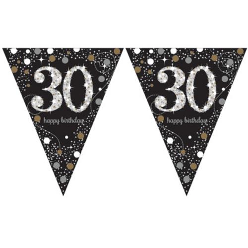 ballonsupermarkt wimpelkette sparkling celebration 30 dekoration 30 geburtstag. Black Bedroom Furniture Sets. Home Design Ideas