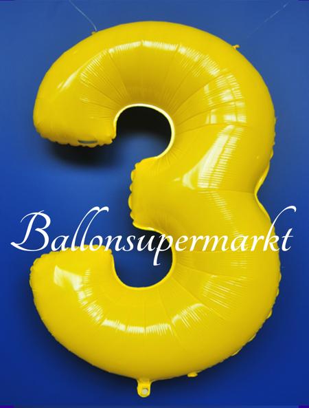 ballonsupermarkt zahlen luftballon aus folie 3 drei gelb 100 cm gro. Black Bedroom Furniture Sets. Home Design Ideas
