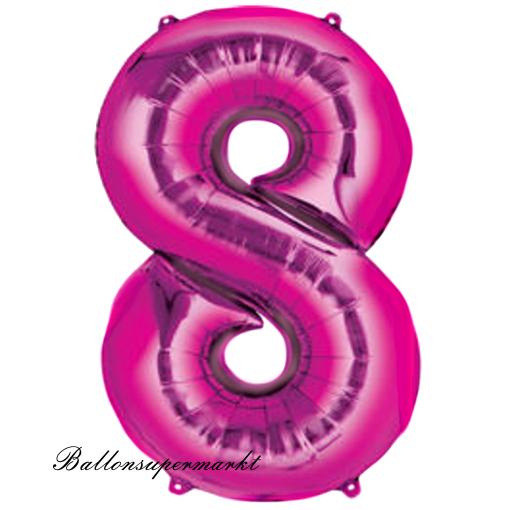 ballonsupermarkt zahlen luftballon aus folie 8 acht pink 100 cm gro. Black Bedroom Furniture Sets. Home Design Ideas