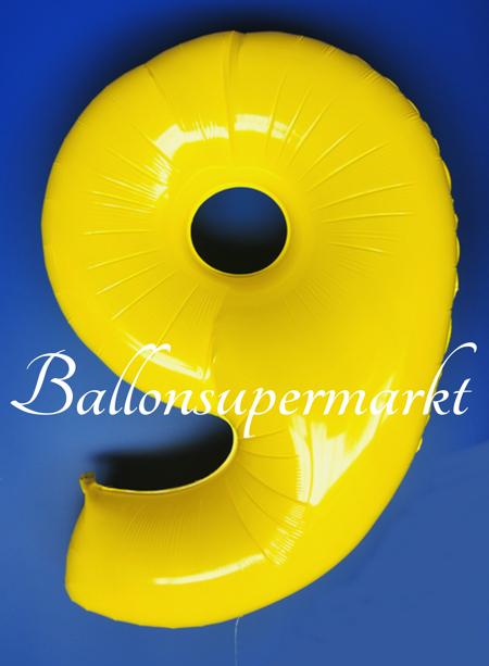zahlen luftballon aus folie 9 neun gelb 100 cm gro luftballons aus folie gro e zahlen. Black Bedroom Furniture Sets. Home Design Ideas