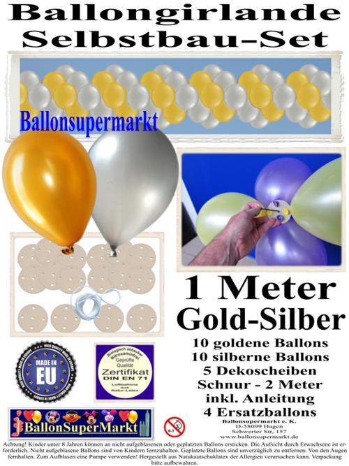 ballongirlande gold silber 1 meter selbstbau set mit dekoscheiben ballongirlanden girlanden. Black Bedroom Furniture Sets. Home Design Ideas