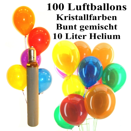 maxi set 3 100 bunte luftballons kristall mit helium gemischt ballons helium sets maxi. Black Bedroom Furniture Sets. Home Design Ideas