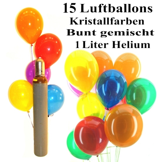 mini set 3 15 bunte luftballons kristall gemischt 1 liter helium ballons helium sets. Black Bedroom Furniture Sets. Home Design Ideas