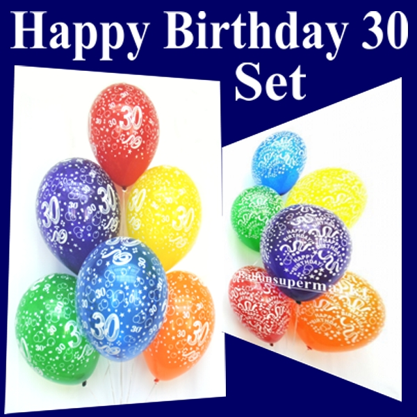 Ballonsupermarkt Maxi Set Geburtstag 30