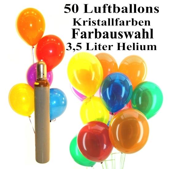 midi set 3a 50 bunte luftballons kristall mit helium. Black Bedroom Furniture Sets. Home Design Ideas