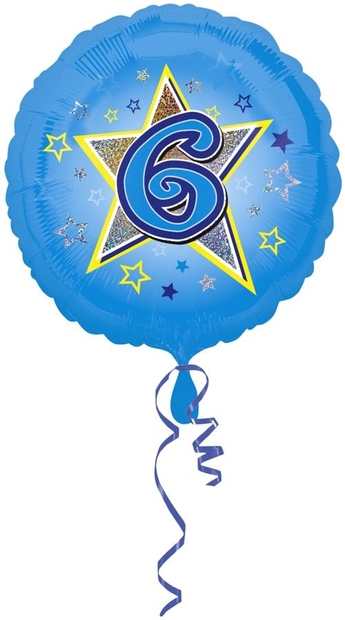 ballonsupermarkt luftballon aus folie mit helium 6 geburtstag blau junge. Black Bedroom Furniture Sets. Home Design Ideas