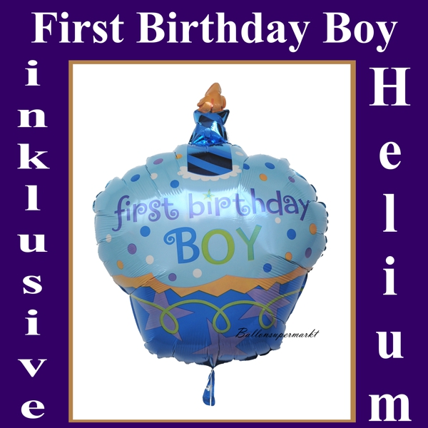ballonsupermarkt first birthday boy cupcake luftballon aus folie mit helium zum. Black Bedroom Furniture Sets. Home Design Ideas