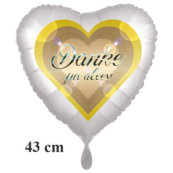Danke für alles. Herzluftballon, 43 cm, satinweiss