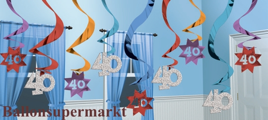 ballonsupermarkt geburtstag dekoration swirls 40 geburtstag swirls. Black Bedroom Furniture Sets. Home Design Ideas