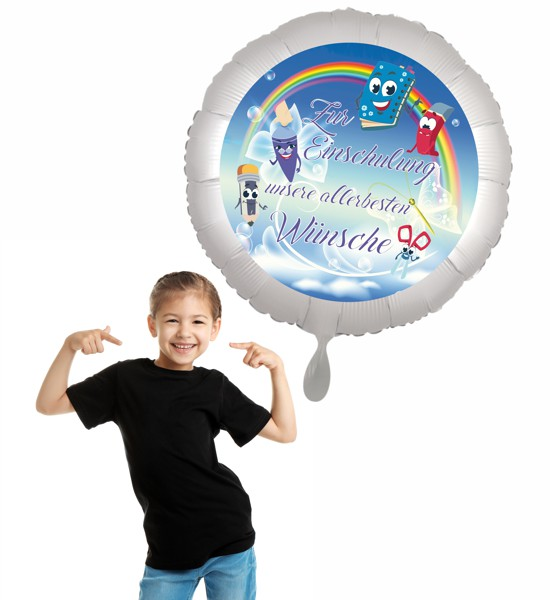 Geschenk zum Schulbeginn. Schwebender Heliumballon zur Einschulung.