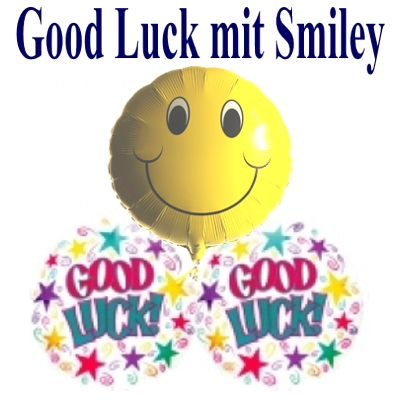 2 Good Luck Luftballons und 1 Smiley Luftballon mit Helium-Ballongas