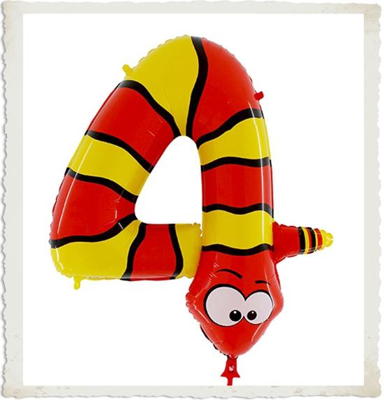 riesenzahl luftballon aus folie mit helium zahl 4 schlange zum 4 kindergeburtstag. Black Bedroom Furniture Sets. Home Design Ideas