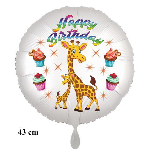 Happy Birthday Giraffen Luftballon mit Helium zum Kindergeburtstag