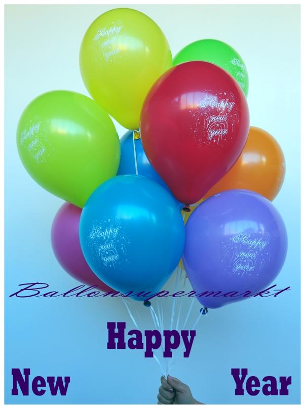 luftballons silvester happy new year 10 st ck bunt gemischt motiv luftballons 10 stueck im. Black Bedroom Furniture Sets. Home Design Ideas