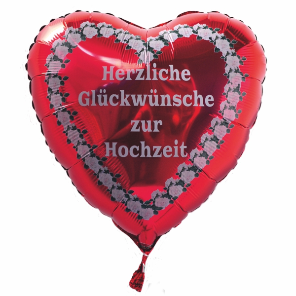 luftballon herz herzliche gl ckw nsche zur hochzeit folienballon inklusive helium. Black Bedroom Furniture Sets. Home Design Ideas