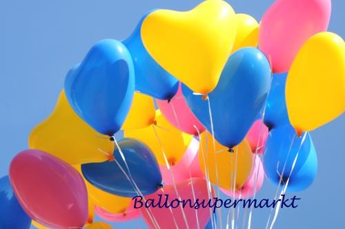 ballonsupermarkt herzluftballons super mini set 12 bunte hochzeitsballons mit. Black Bedroom Furniture Sets. Home Design Ideas