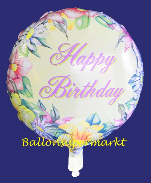 Luftballon zum Geburtstag, Folienballon Happy Birthday Flowers