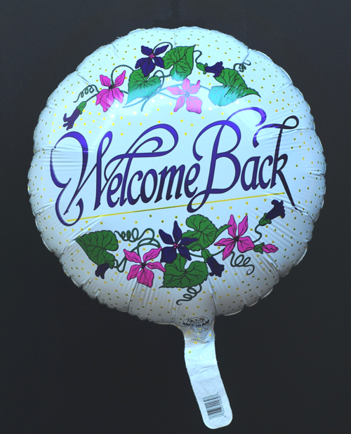 Luftballon aus Folie: Welcome Back, Ballon mit Ballongas-Helium