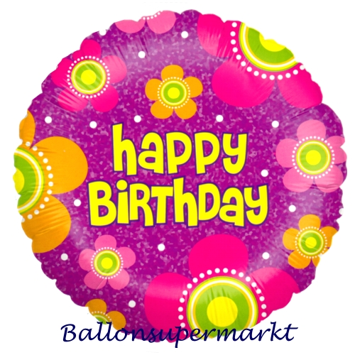 geburtstags luftballon happy birthday blossoms inklusive helium geburtstag 45 cm. Black Bedroom Furniture Sets. Home Design Ideas